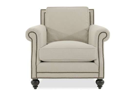 "Nailhead Accented European Classic 39.5"" Chair in Beige"