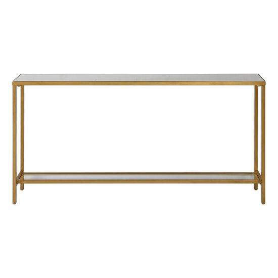 Mirrored Top Console Table with Gallery Shelf in Antique Gold