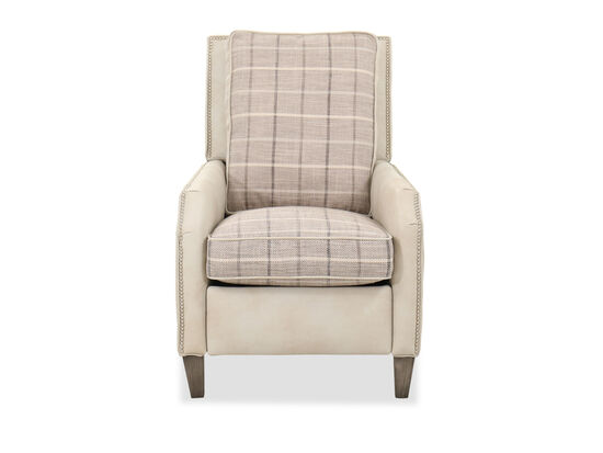 "Transitional Nailhead-Accented 28.5"" Pressback Recliner in Cream"