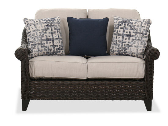 "Contemporary 56"" Patio Loveseat in Dark Brown"