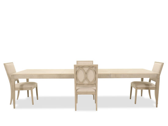 """Five-Piece Circular-Detailed 83"""" to 124'' Dining Set in Shadow Gray"""