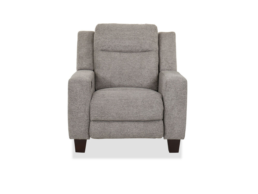 Flaunting a pleasing gray finish this power recliner creates a new focal point in your living room
