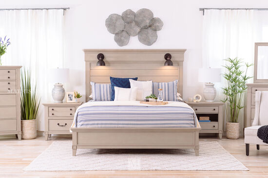 Four-Piece Transitional Bed Suite in Gray