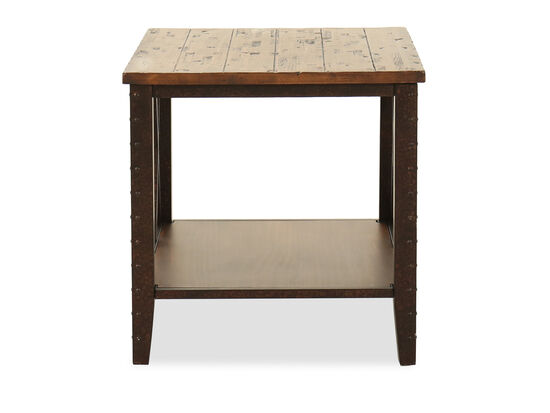 Distressed Square Casual End Table in Dark Iron-Ore