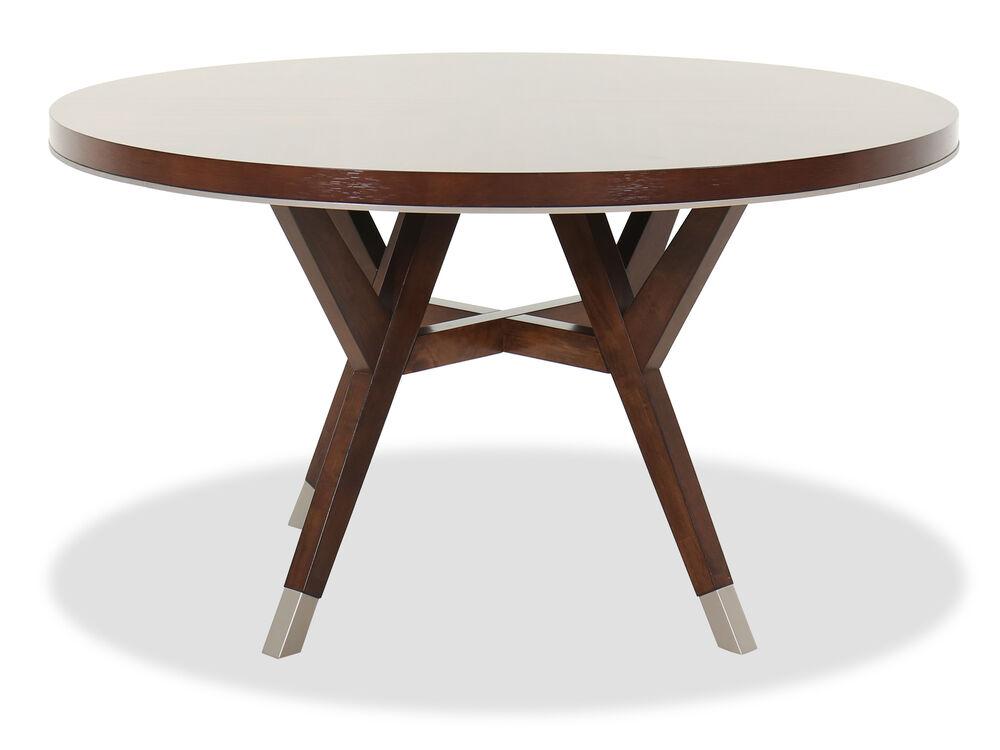 "Designer Round Dining Tables: Modern 54"" Round Dining Table In Medium Walnut"