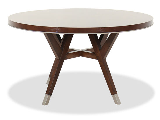 "Modern 54"" Round Dining Table in Medium Walnut"