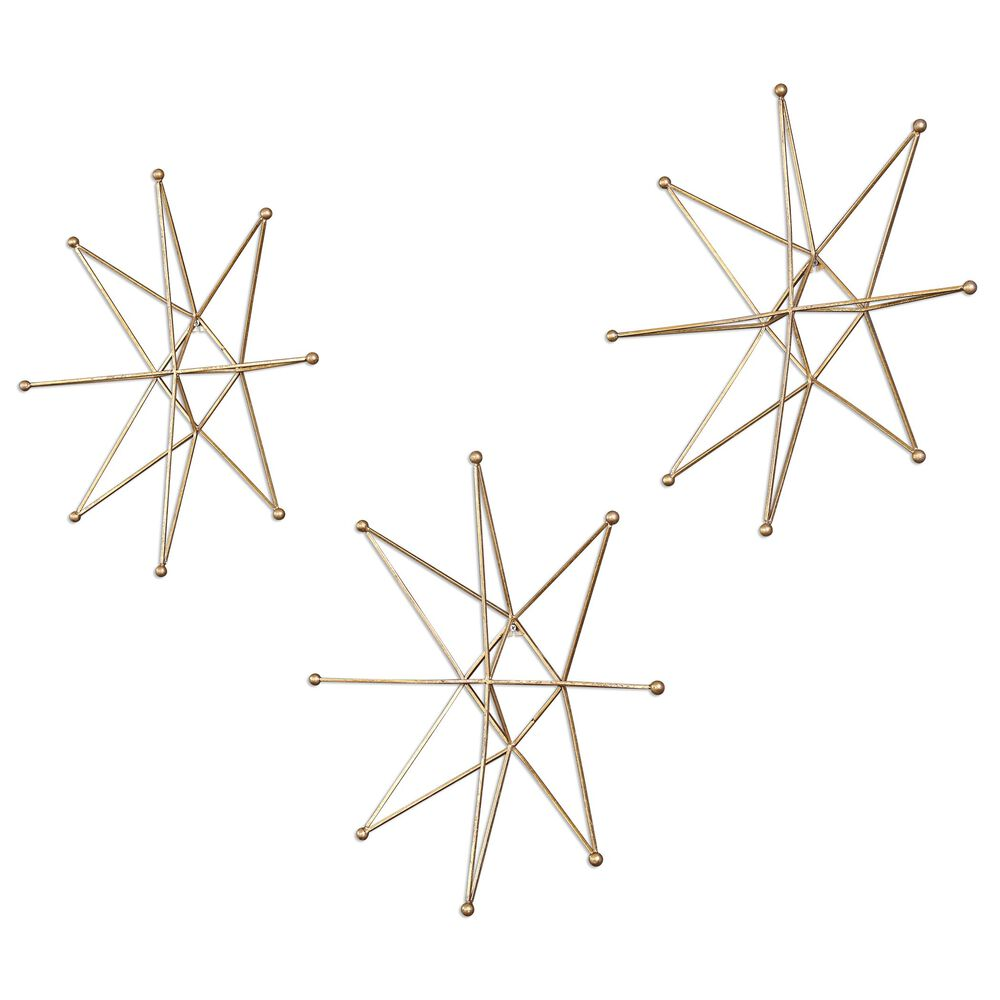 Three-Piece Stars Wall Art in Bright Gold Leaf