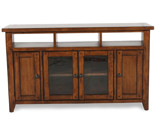 Four-Door Country Entertainment Console in Saddle Brown