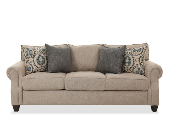 Casual Rolled Arm Sofa in Oat