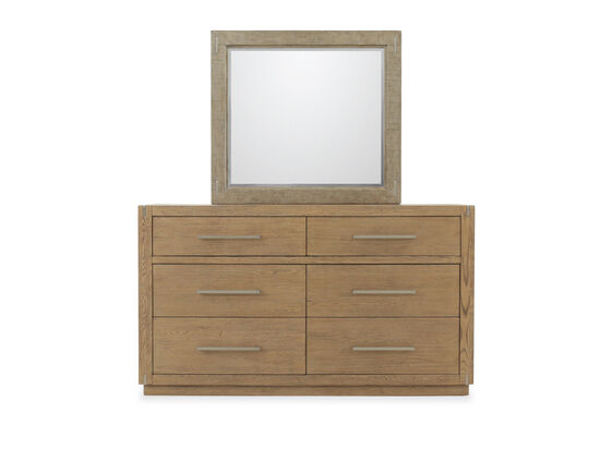 Two-Piece Traditional Six-Drawer Dresser and Mirror in Brown