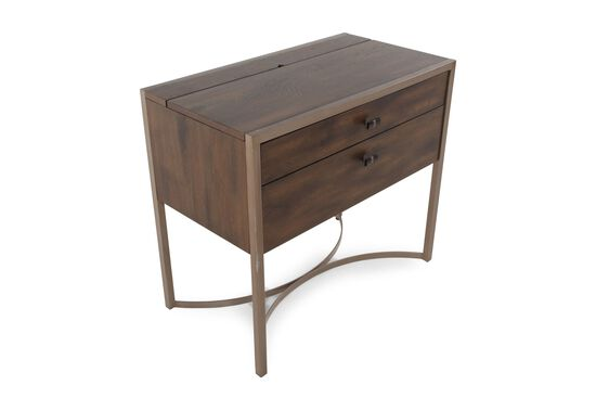 Contemporary Two-Drawer Nightstandin Brown