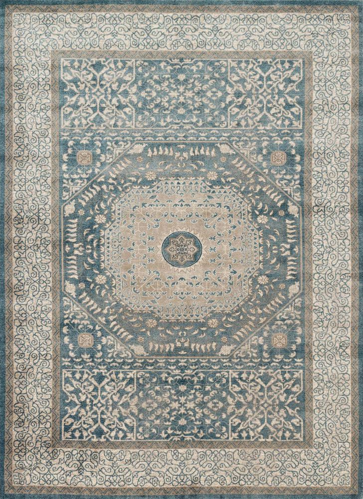 Transitional Rug in Blue/Sand