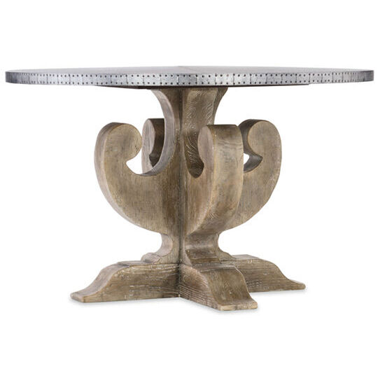 "Boheme Ascension 48"" Zinc Round Dining Table in Light Wood"