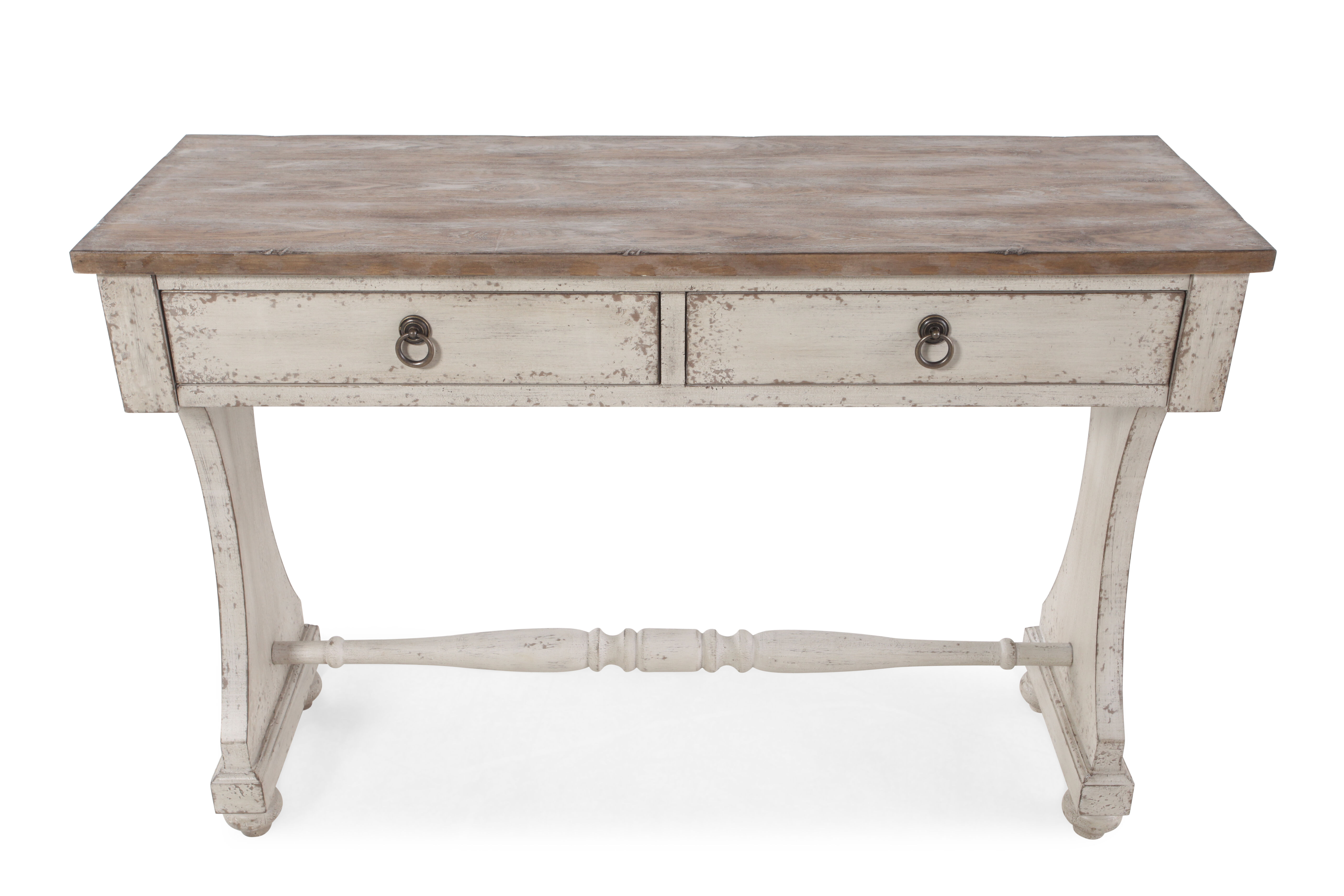 ... Two Drawer Country Console Table In Aged Ivory ...