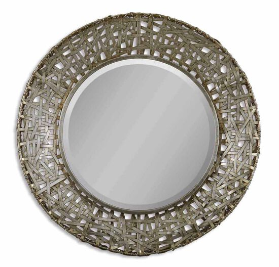 32'' Woven Strips Accent Mirror in Champagne