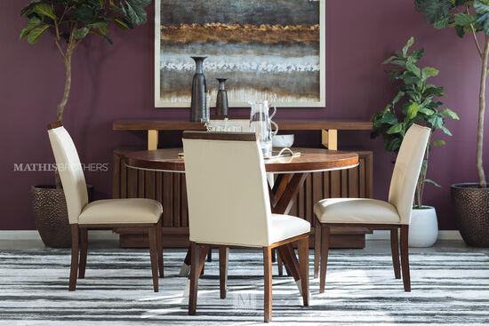 Five-Piece Modern Dining Set in Medium Walnut