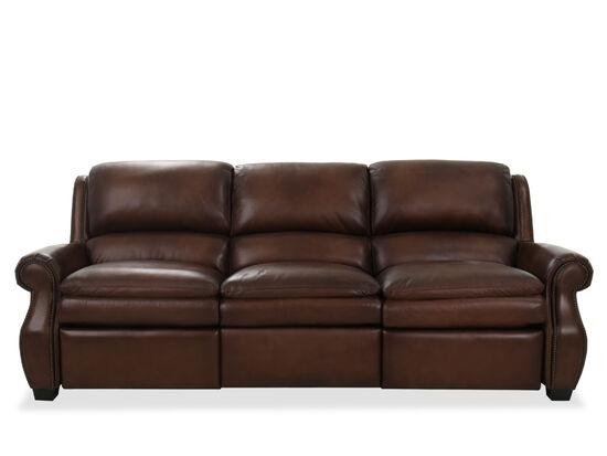 """Leather 102"""" Power Sofa in Brown"""