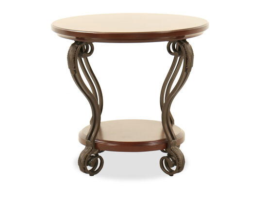 Round Traditional End Table in Burnished Brown