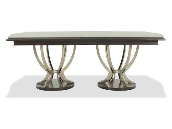 "Casual 46"" to 115"" Steel Pedestal Table in Dark Brown"