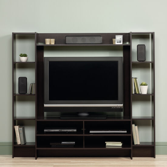 Four-Shelf Casual Entertainment Wall system in Cinnamon Cherry