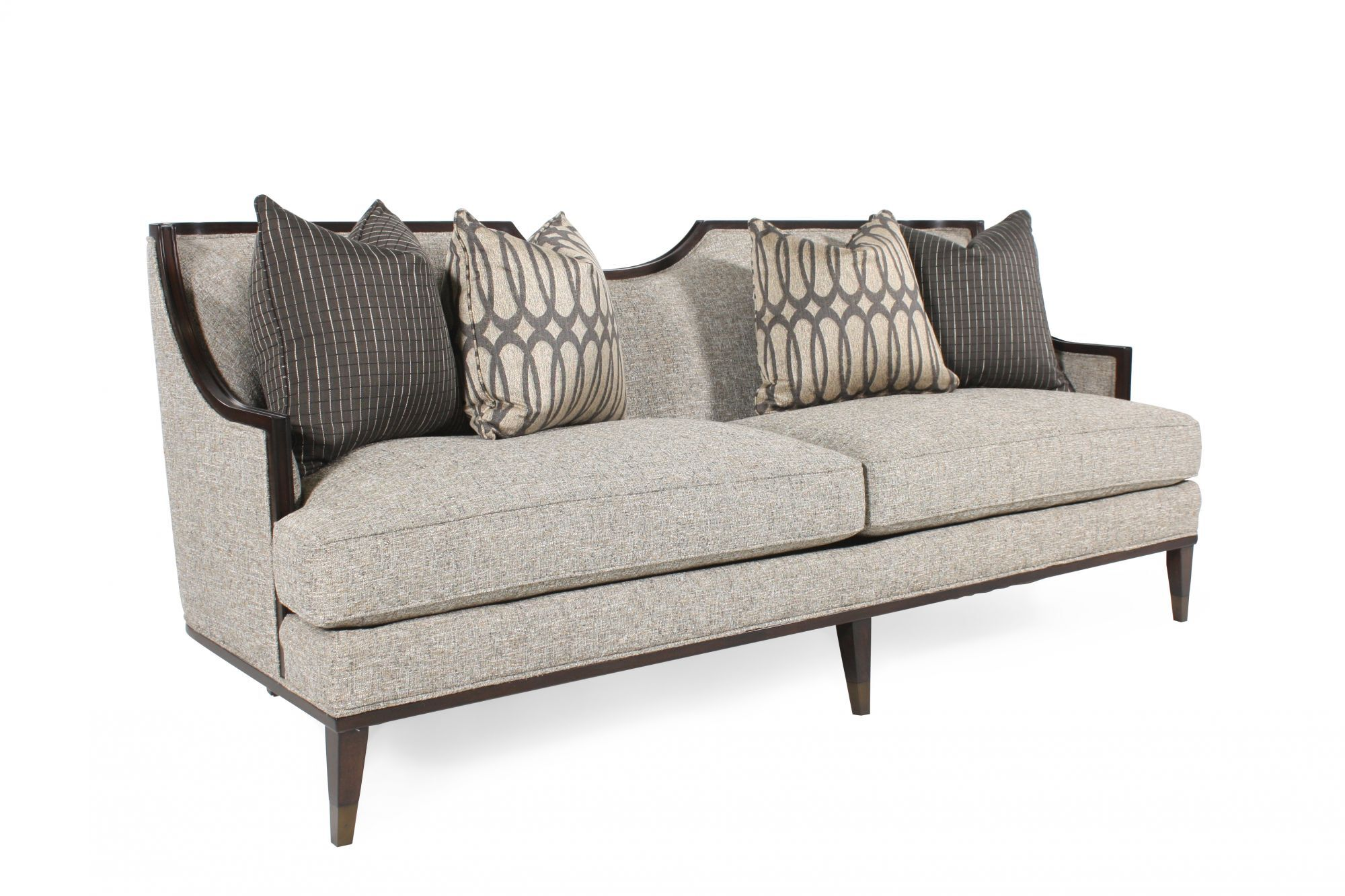 Mid Century Modern Wood Trimmed 84.5u0026quot; Sofa In Gray