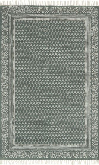 """Transitional 7'-9""""x9'-9"""" Rug in Green"""