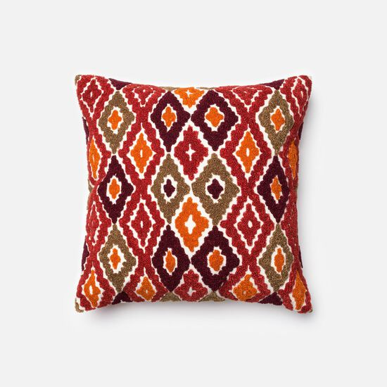 """Contemporary 18""""x18"""" Cover w/Poly Pillow in Red/Orange"""