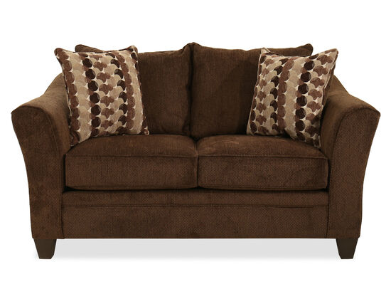 "66"" Transitional Loveseat in Brown"