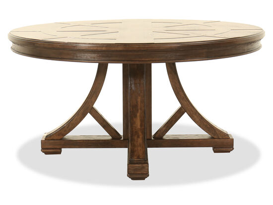 "Traditional 60"" Round Dining Table in Brown"