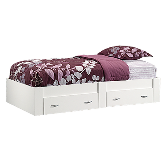 "13"" Twin Platform Bed with Storage Drawer in Soft White"