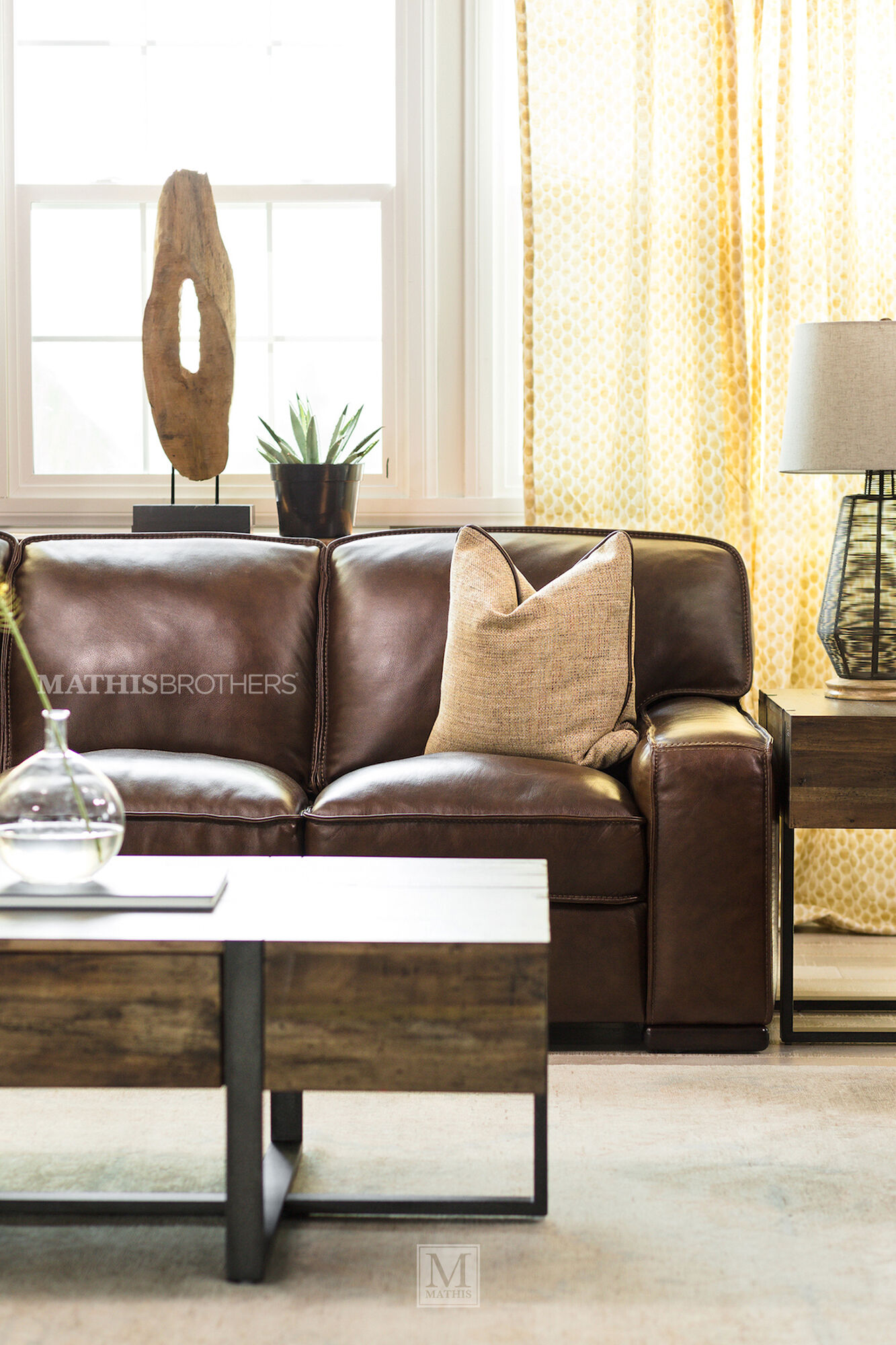"Leather Sofas: Traditional 93"" Leather Sofa In Brown"
