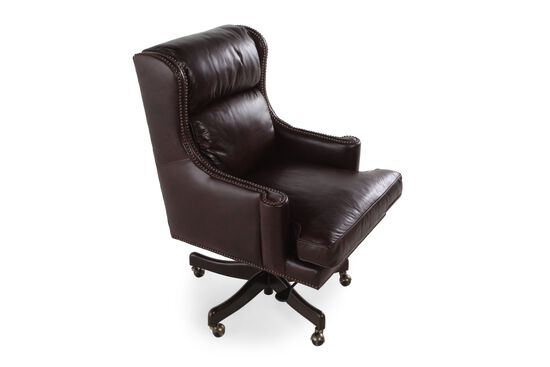 Leather Nailhead Accented Desk Chairin Brown