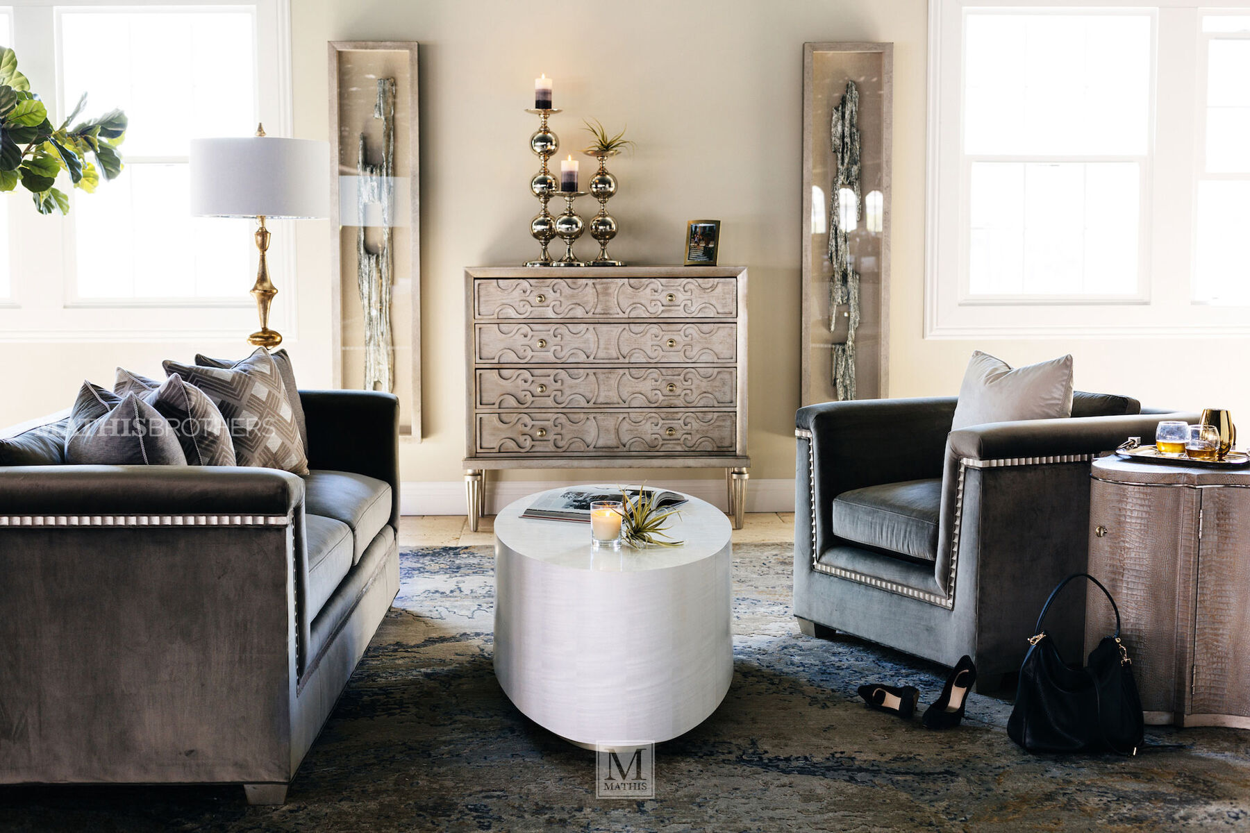 ... Scalloped Trim Glam 37u0026quot; Chair In Gray