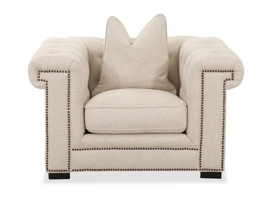 "Contemporary Nailhead Accent 51"" Chair in Cream"