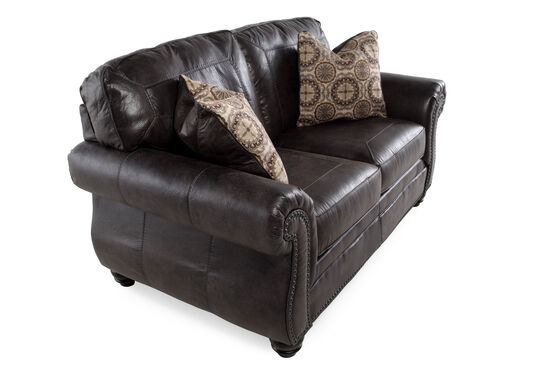 "Nailhead-Trimmed Traditional 66"" Loveseat in Charcoal"