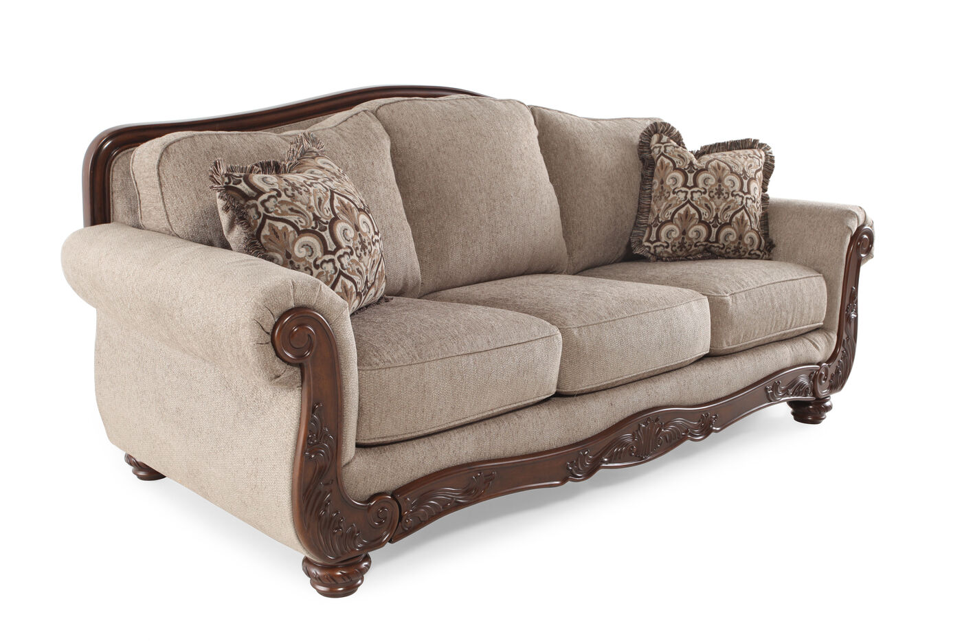 Traditional rolled arm 86quot sofa in cocoa mathis brothers for 86 sectional sofa