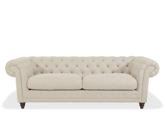 "Button-Tufted 93"" Rolled Arm Sofa in Beige"