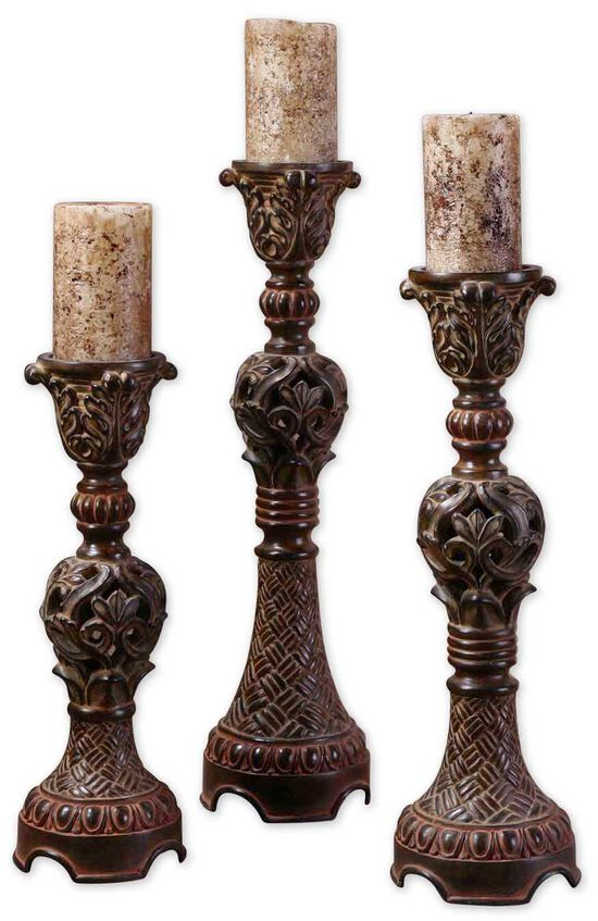 Three-Piece Carved Candlestick Set in Walnut Brown