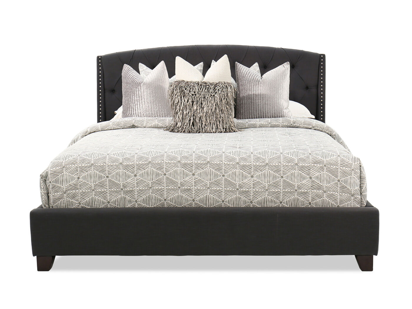 """Wayfair Tufted Headboard Solid Tufted Dimensions Wood: 55"""" Contemporary Button Tufted Bed In Dark Gray"""