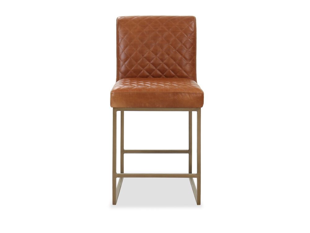 Casual Diamond-Patterned Counter Stool in Camel