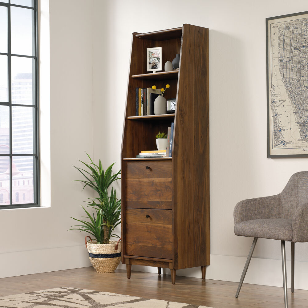 Two Drawer Mid Century Modern Narrow Bookcase In Grand