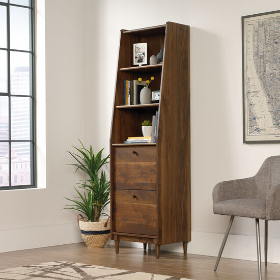 Two-Drawer Mid-Century Modern Narrow Bookcase in Grand Walnut