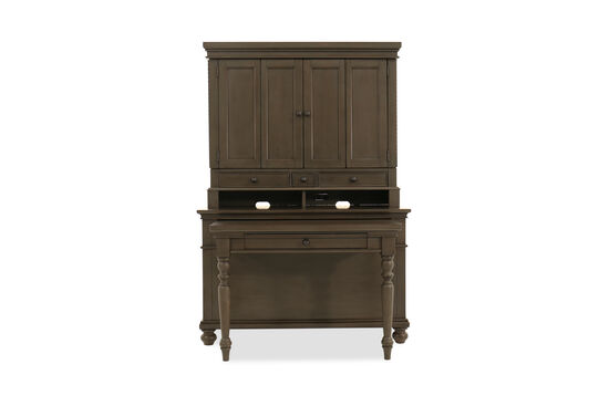 Casual Four-Drawer Desk and Hutch in Brown