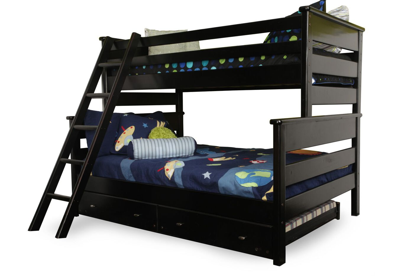 Casual Youth Twin Over Full Bunk Bed In Black Cherry
