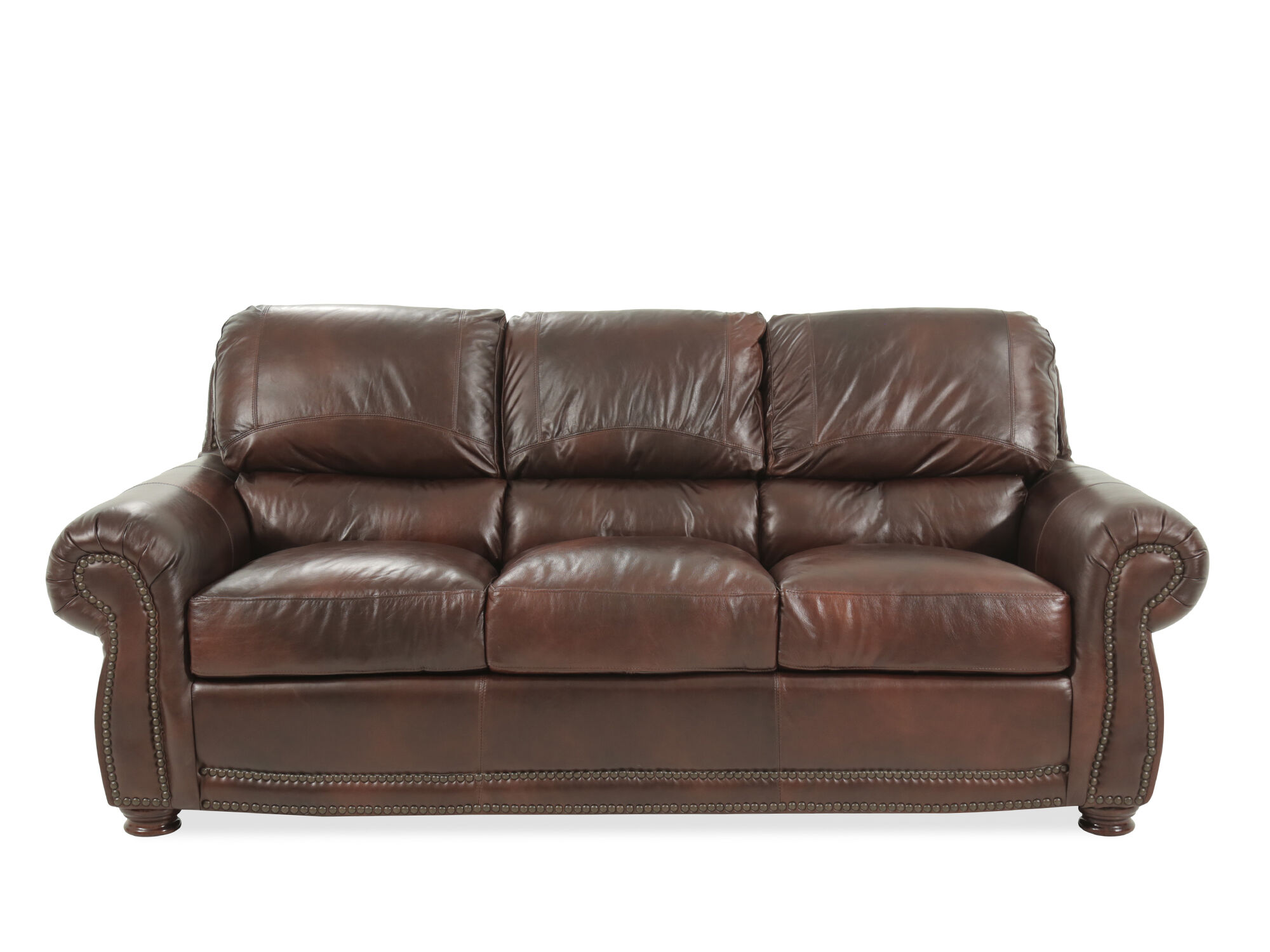 85 Leather Sofa In Amaretto