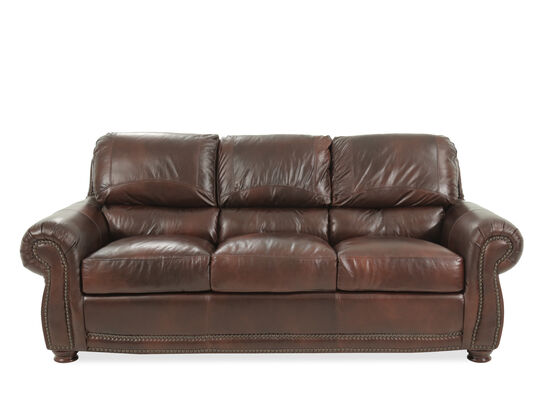 "85"" Leather Sofa in Amaretto"