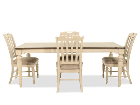 """Casual 80"""" Five-Piece Dining Set in Vintage Linen"""