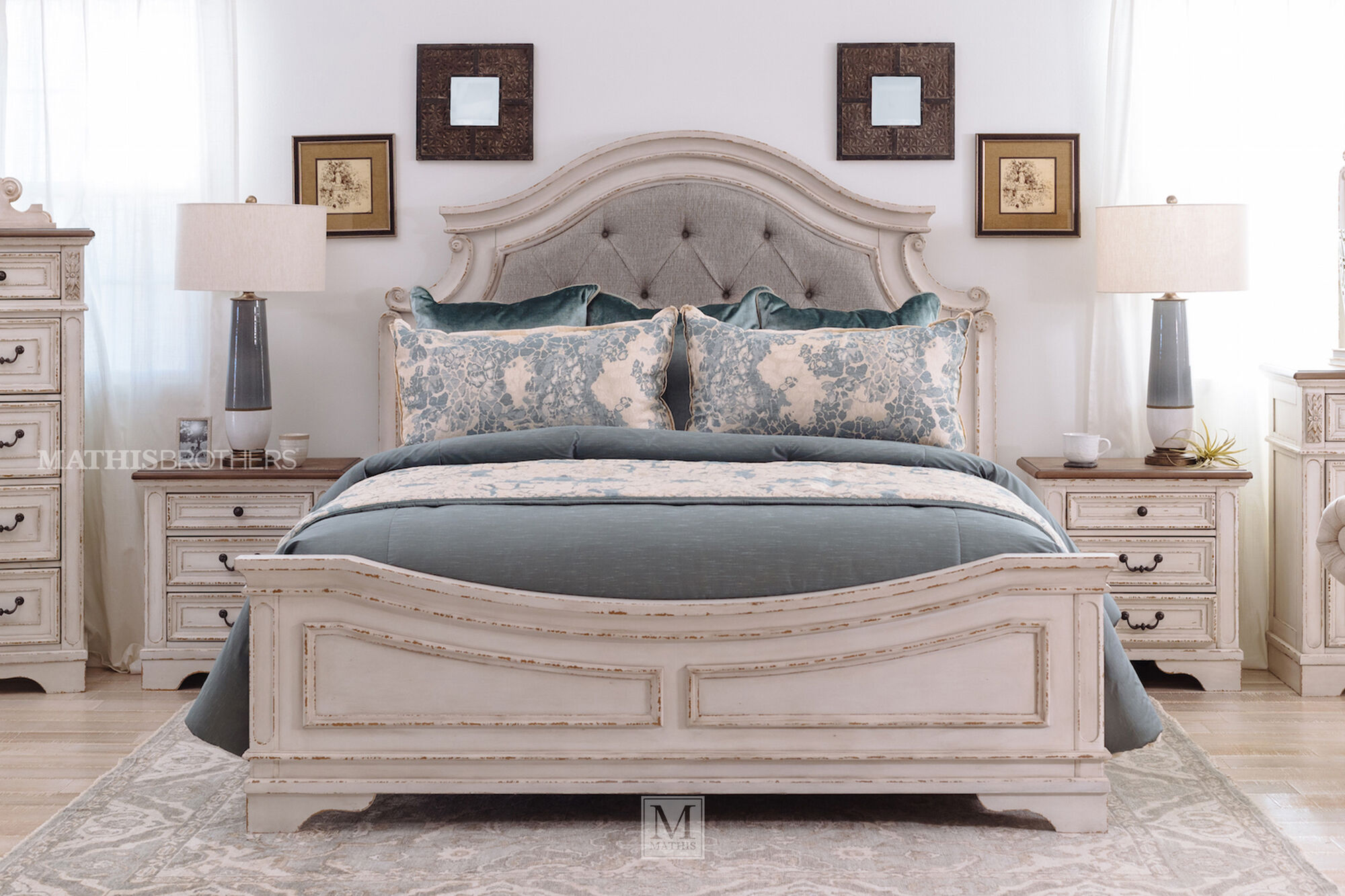Traditional Panel Bed in Chipped White   Mathis Brothers ...
