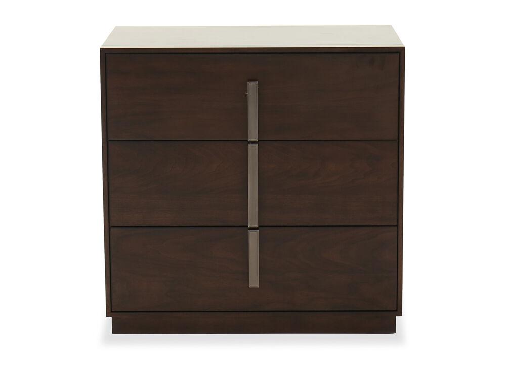 "30"" Contemporary Three-Drawer Nightstand in Dark Brown"