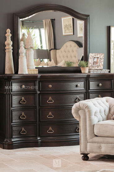 Two-Piece Refined Romantic Luxury Dresser and Mirror in Dark Brown
